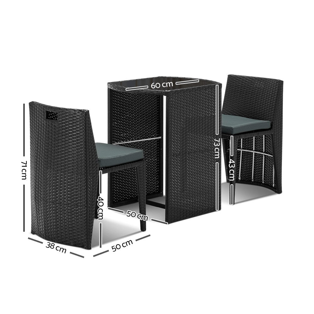 Gardeon 3 Piece PE Wicker Outdoor Table and Chair Set - Black