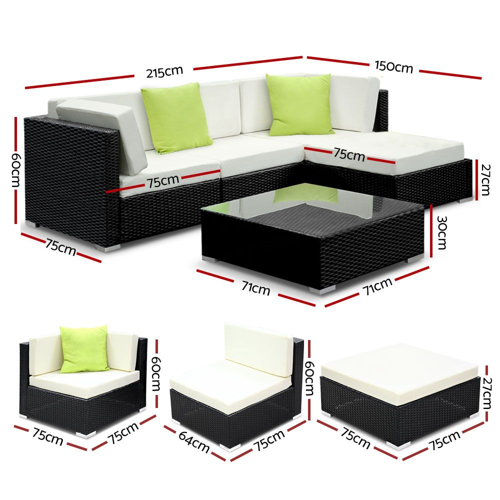 Gardeon 5PC Sofa Set with Storage Cover Outdoor Furniture Wicker