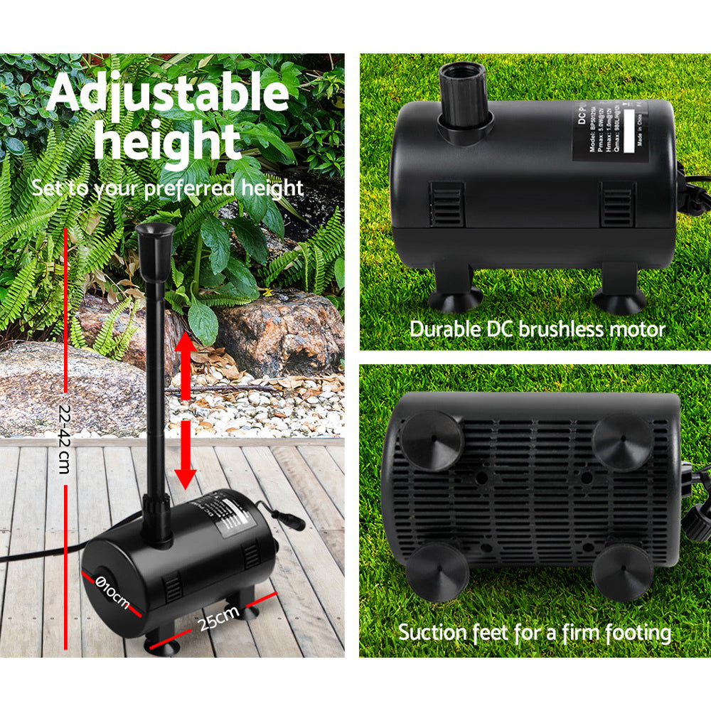 Gardeon 1600L/H Submersible Fountain Pump with Solar Panel