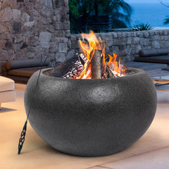 Grillz Outdoor Portable Fire Pit Bowl Wood Burning Patio Oven Heater Fireplace