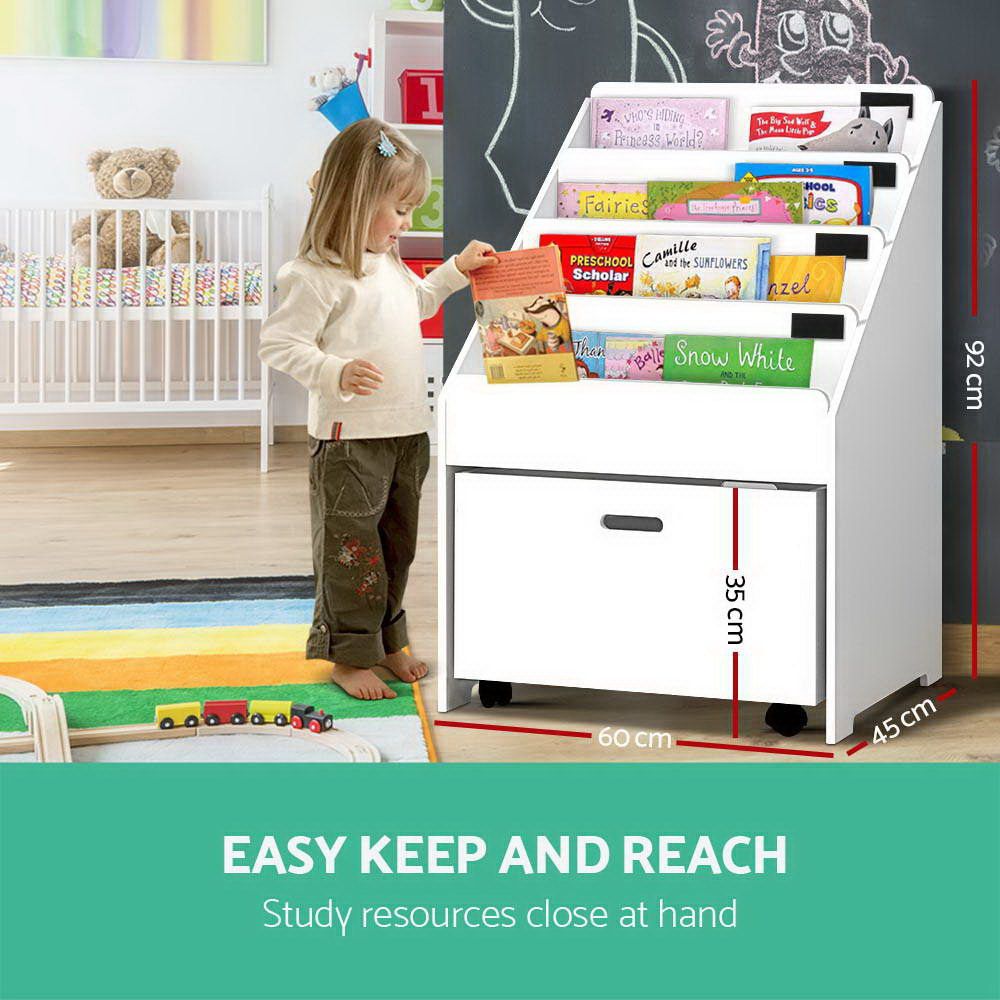 Keezi Kids Bookcase Childrens Bookshelf Organiser Storage Shelf Wooden White