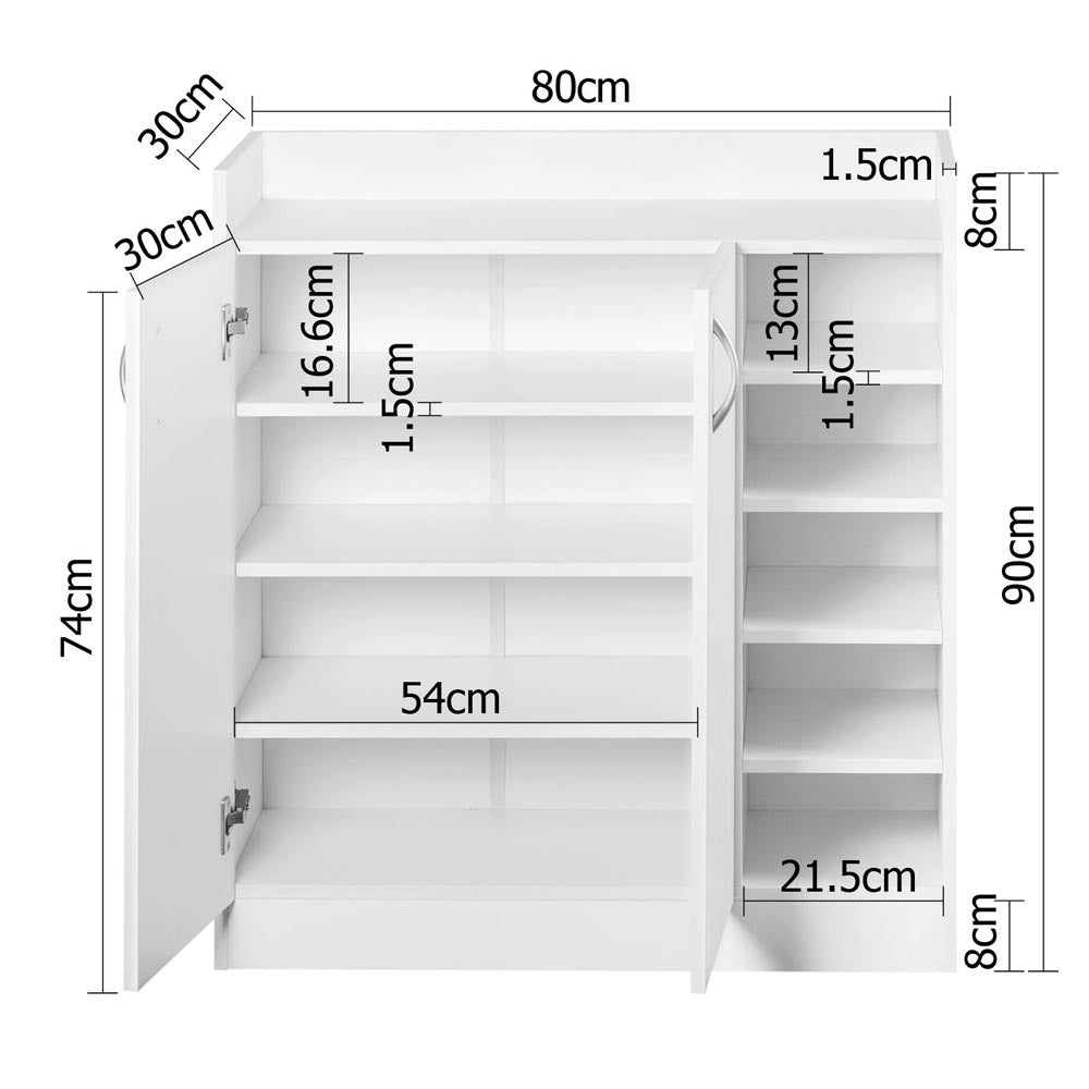 Artiss 2 Doors Shoe Cabinet Storage Cupboard - White