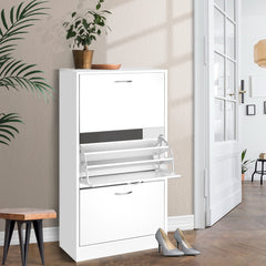 Artiss 3 Tier Shoe Cabinet - White