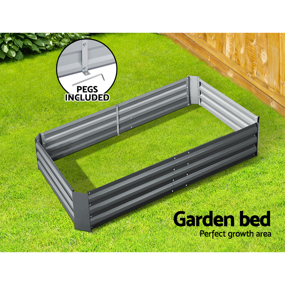 Green Fingers 150 x 90cm Galvanised Steel Garden Bed - Aliminium Grey