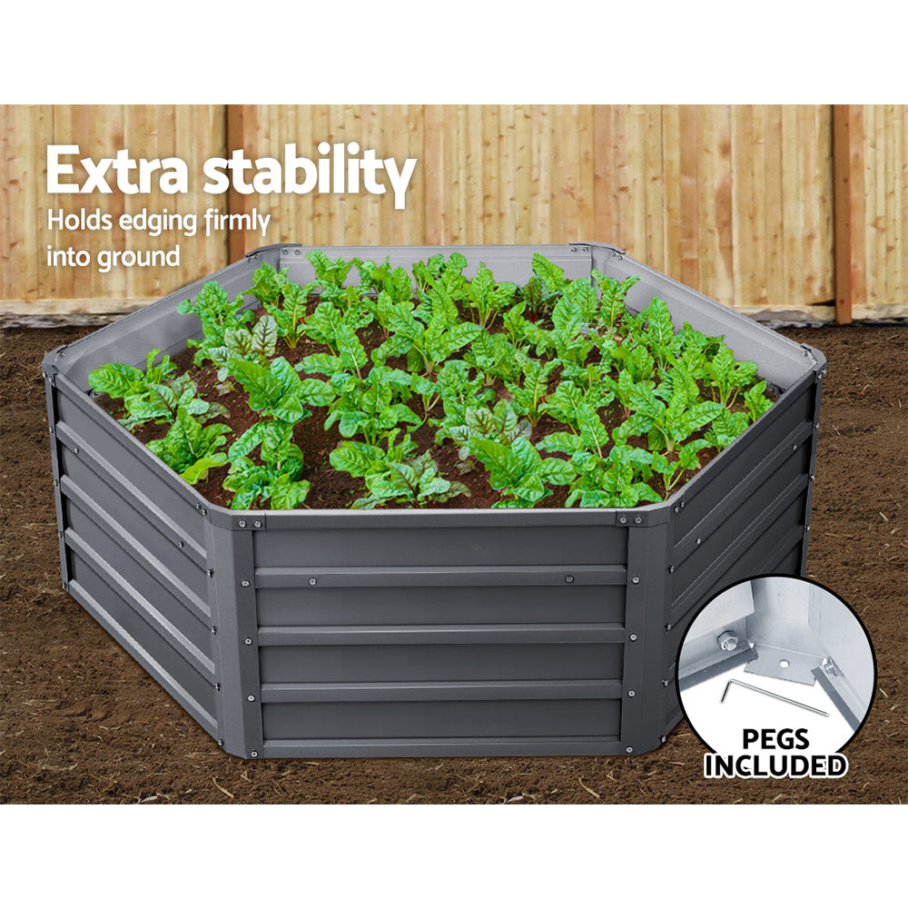 Greenfingers Garden Bed 2PCS 130X130X46CM Galvanised Steel Raised Planter
