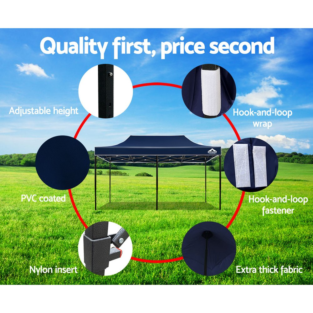 Instahut Gazebo Pop Up Marquee 3x6m Outdoor Tent Folding Wedding Gazebos Navy