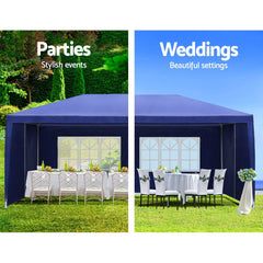 Instahut Gazebo 3x6m Outdoor Marquee side Wall Gazebos Tent Canopy Camping Blue 8 Panel