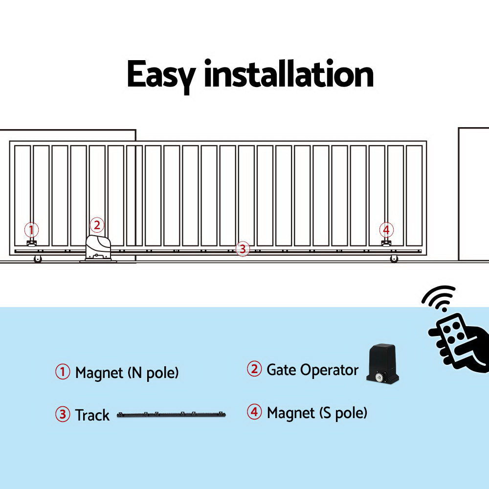 Auto Electric Sliding Gate Opener 1000KG 6M Rails