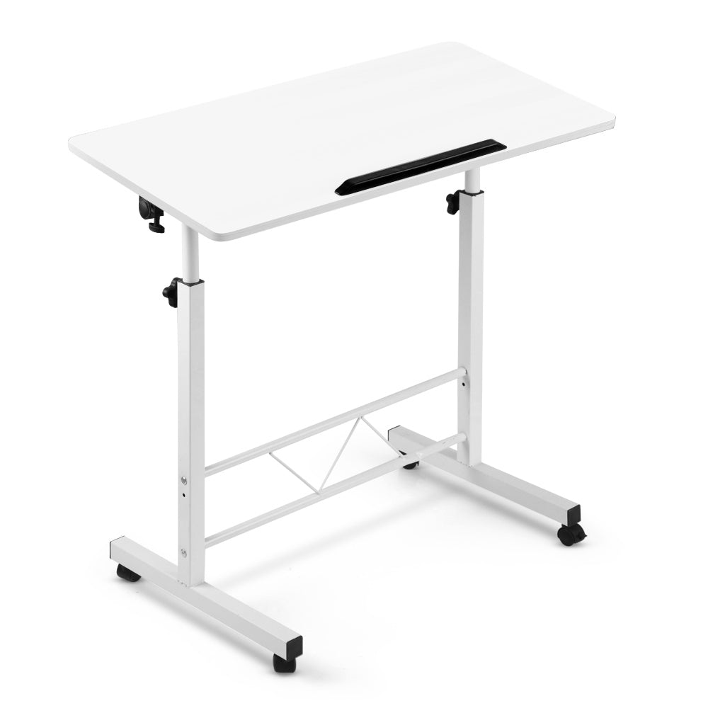 Portable Mobile Laptop Desk Notebook Computer Height Adjustable Table Sit Stand Study Office Work White