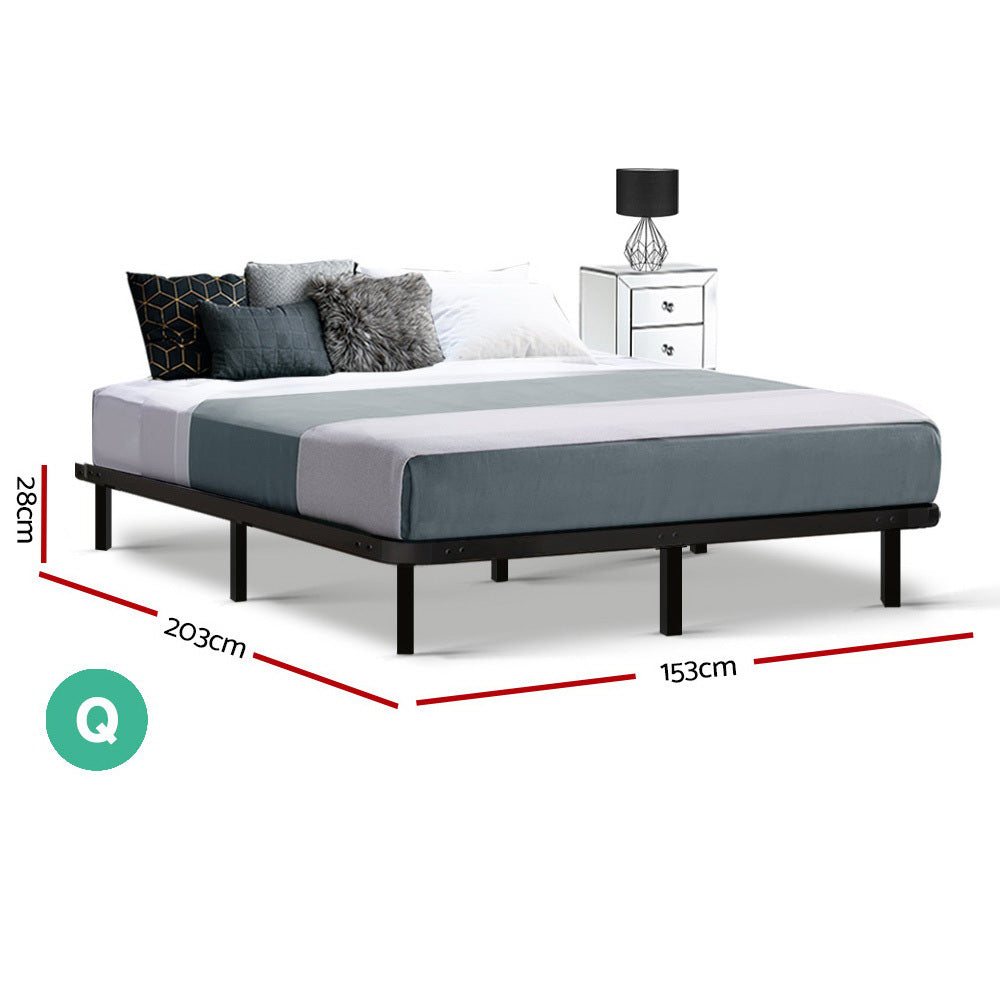 Artiss Queen Size Metal Bed Base - Black