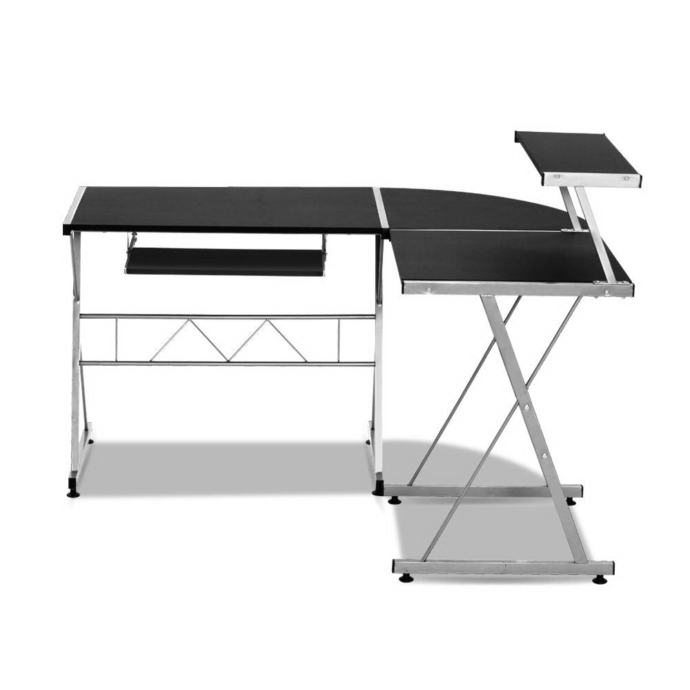 Artiss Corner Metal Pull Out Table Desk - Black
