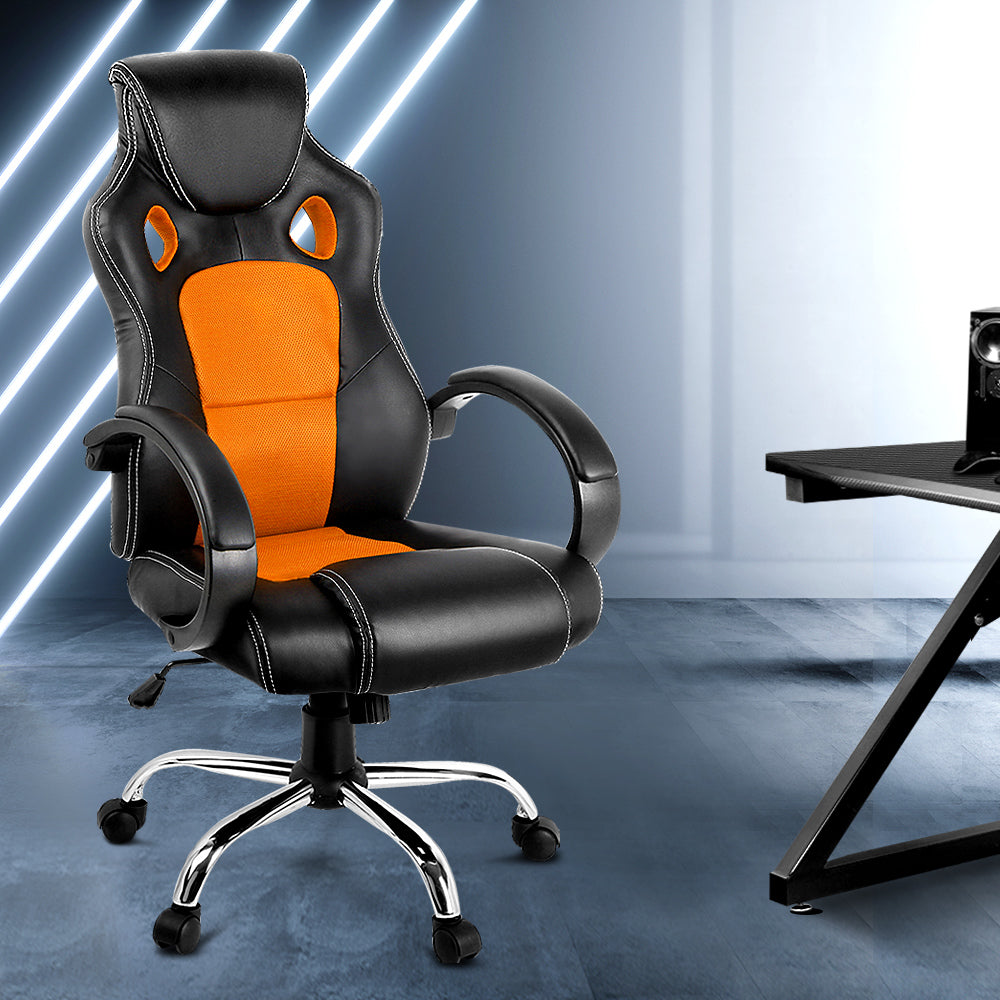 Racing Style PU Leather Office Desk Chair - Orange