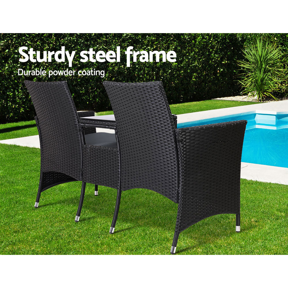 Gardeon Outdoor Furniture Chair Bench Sofa Table 2 Seat Cushions Wicker Black