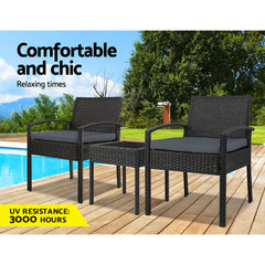 Gardeon 3-piece Outdoor Set - Black