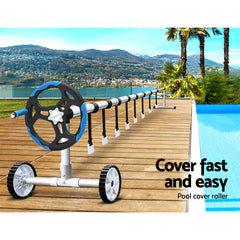 Aquabuddy Swimming Pool Cover Roller Reel Adjustable Solar Thermal Blanket Blue