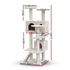 i.Pet Cat Tree 134cm Trees Scratching Post Scratcher Tower Condo House Furniture Wood Beige