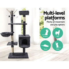 i.Pet Cat Tree 140cm Trees Scratching Post Scratcher Tower Condo House Furniture Wood