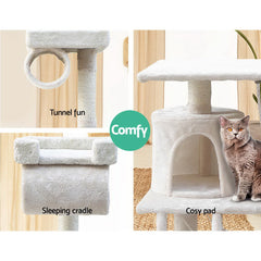 i.Pet Cat Tree 141cm Trees Scratching Post Scratcher Tower Condo House Furniture Wood Beige