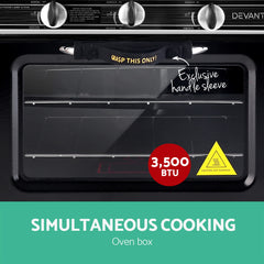 Devanti 3 Burner Portable Oven - Silver & Black