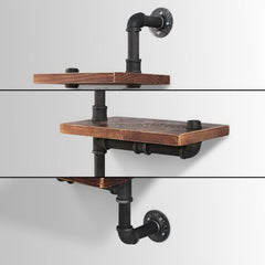 Artiss Display Shelves Bookshelf Pipe Shelf Rustic Industrial Floating Wall Shelves DIY Brackets
