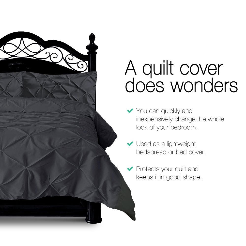 Giselle Bedding King Size Quilt Cover Set - Black