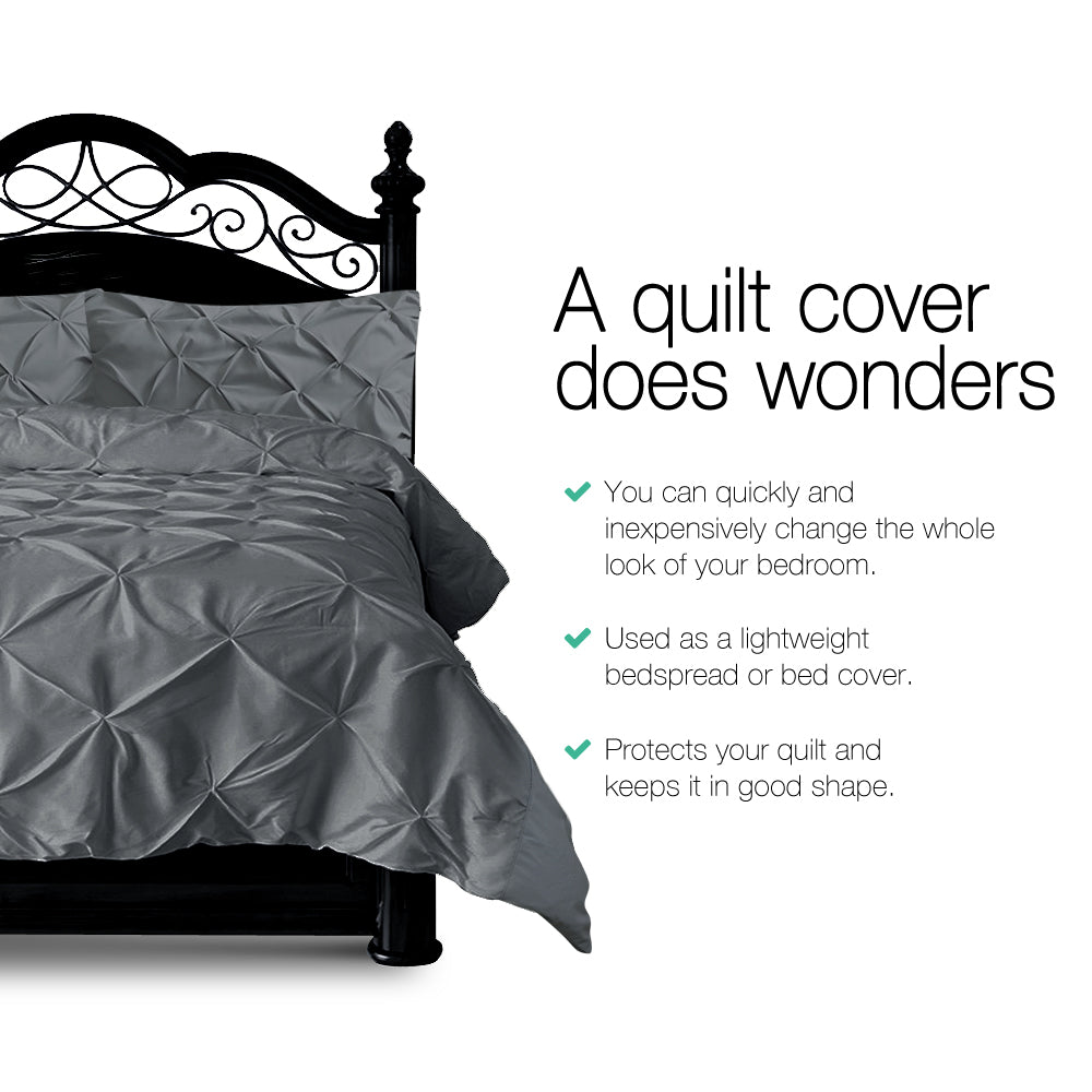 Giselle Bedding Super King Quilt Cover Set - Charcoal