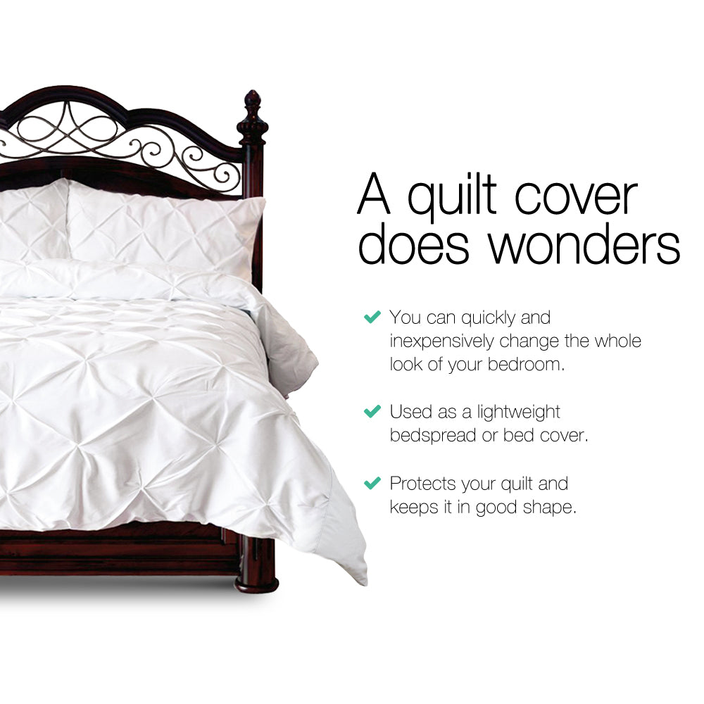 Giselle Bedding Super King Size Quilt Cover Set - White