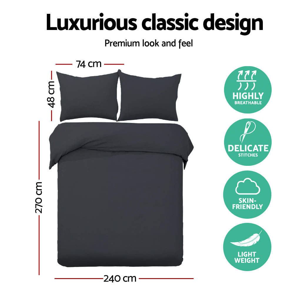 Giselle Bedding Super King Classic Quilt Cover Set - Black