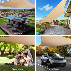 Instahut Shade Sail Cloth Rectangle Shadesail Heavy Duty Sand Sun Canopy 3x5m