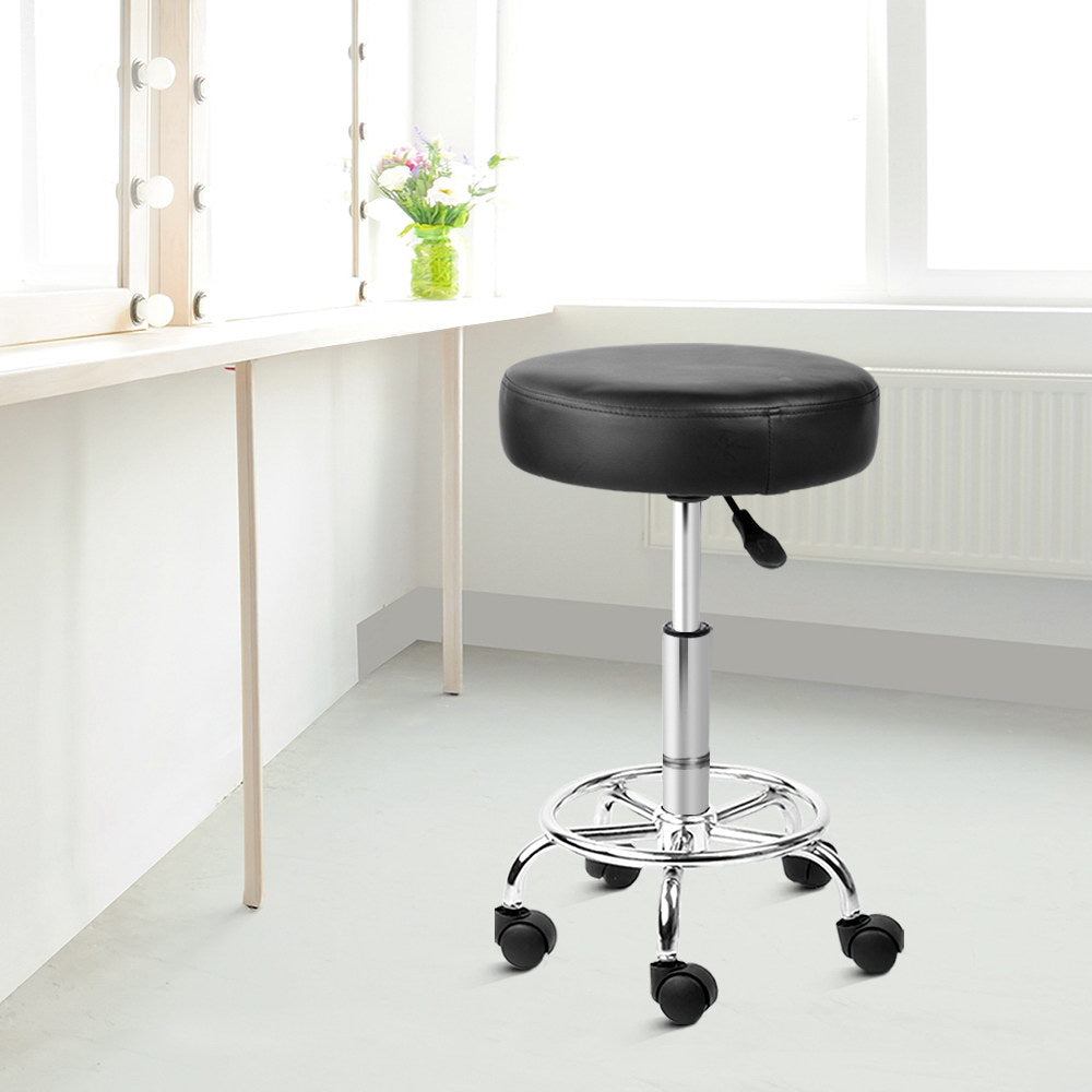 Artiss PU Leather Swivel Salon Stool - Black