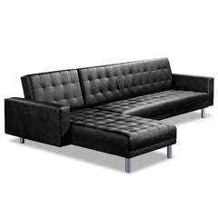 Artiss Modular PU Leather Sofa Bed - Black