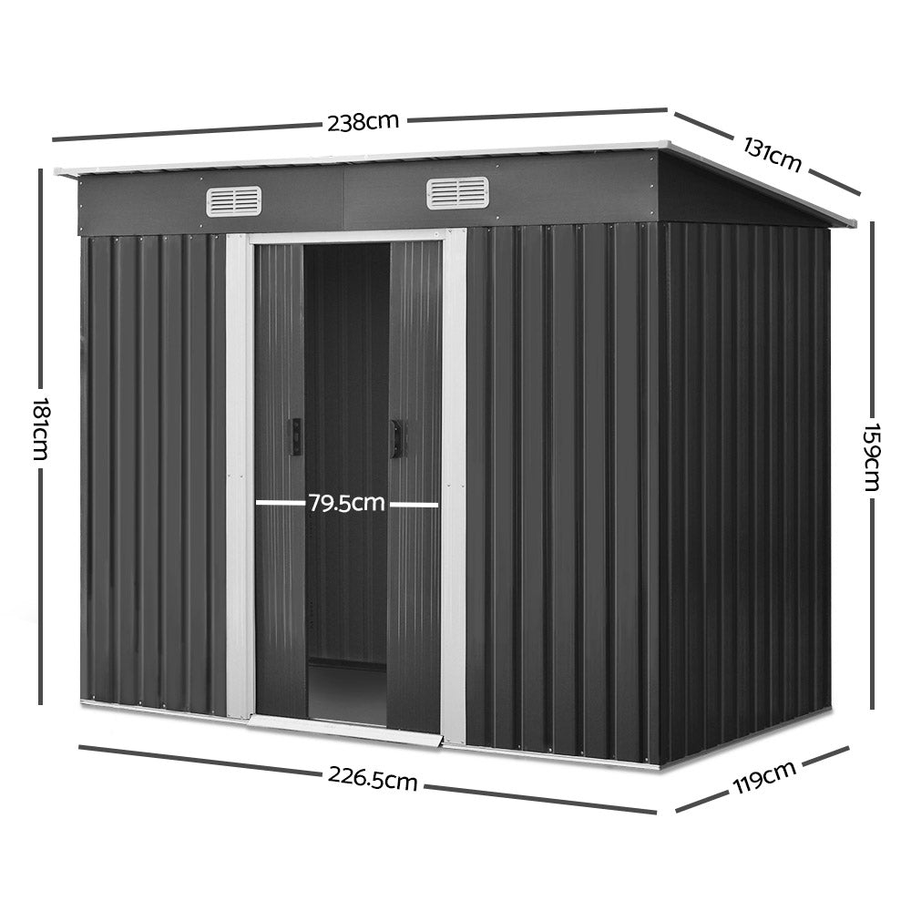 Giantz 2.38 x 1.31m Steel Garden Shed - Grey