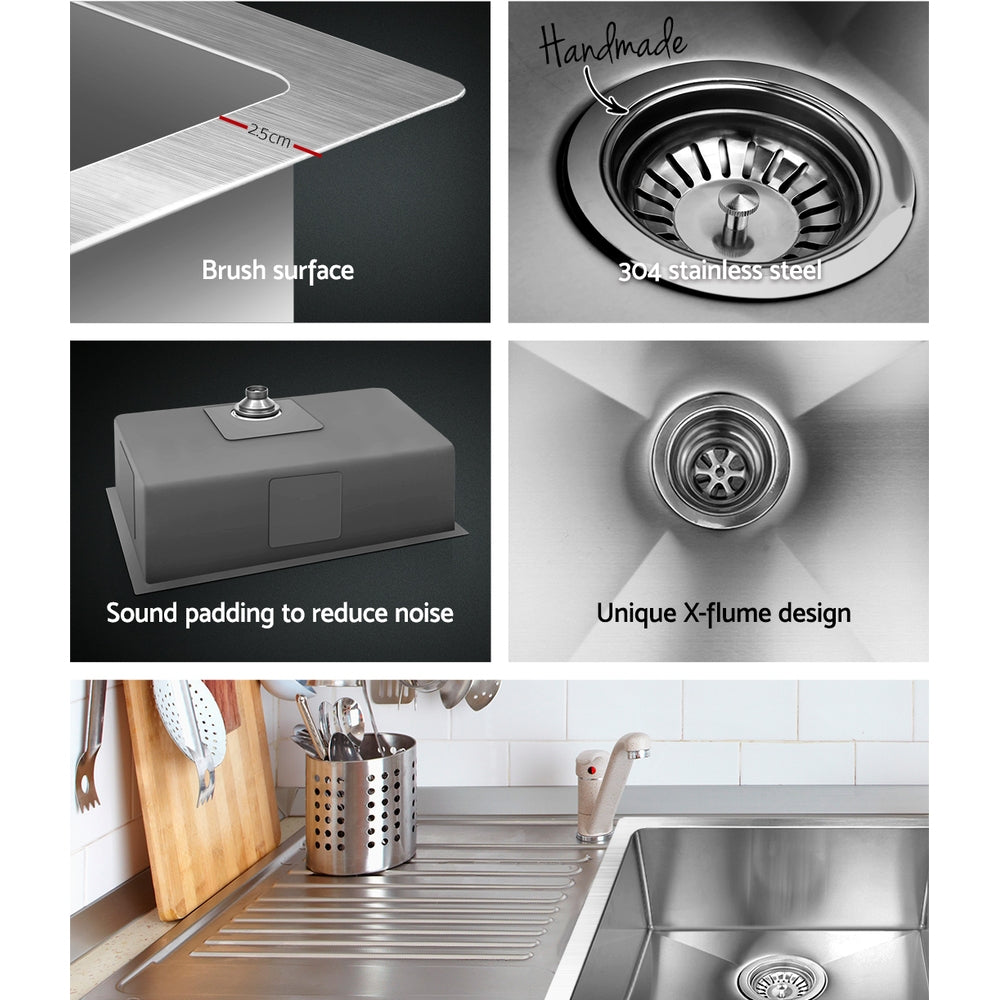 Cefito Stainless Steel Kitchen Sink 700X450MM Under/Topmount Sinks Laundry Bowl Silver