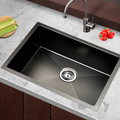 Cefito Stainless Steel Kitchen Sink 600X450MM Under/Topmount Sinks Laundry Bowl Black