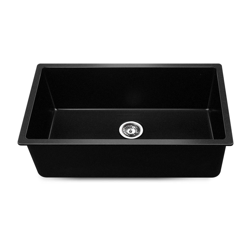 Cefito Stone Kitchen Sink 790X450MM Granite Under/Topmount Basin Bowl Laundry Black
