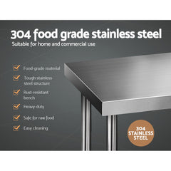 Cefito 1829 x 610mm Commercial Stainless Steel Kitchen Bench