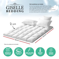 Giselle QUEEN Mattress Topper Duck Feather Down 1000GSM Pillowtop Topper