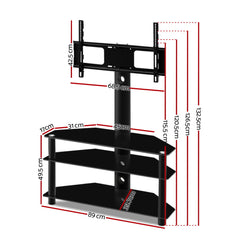 Artiss 3 Tier Floor TV Stand with Bracket Shelf Mount