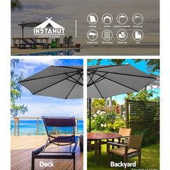 Instahut 3M Outdoor Furniture Garden Umbrella Grey