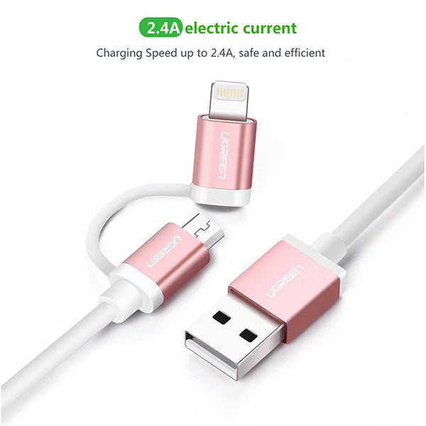 UGREEN Micro-USB to USB Cable with Lightning Adapter 1.5M (30471)