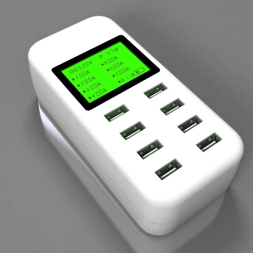 8 port USB Desktop Charger 5V/8A Multi Smart Fast Charging Station With LCD Display