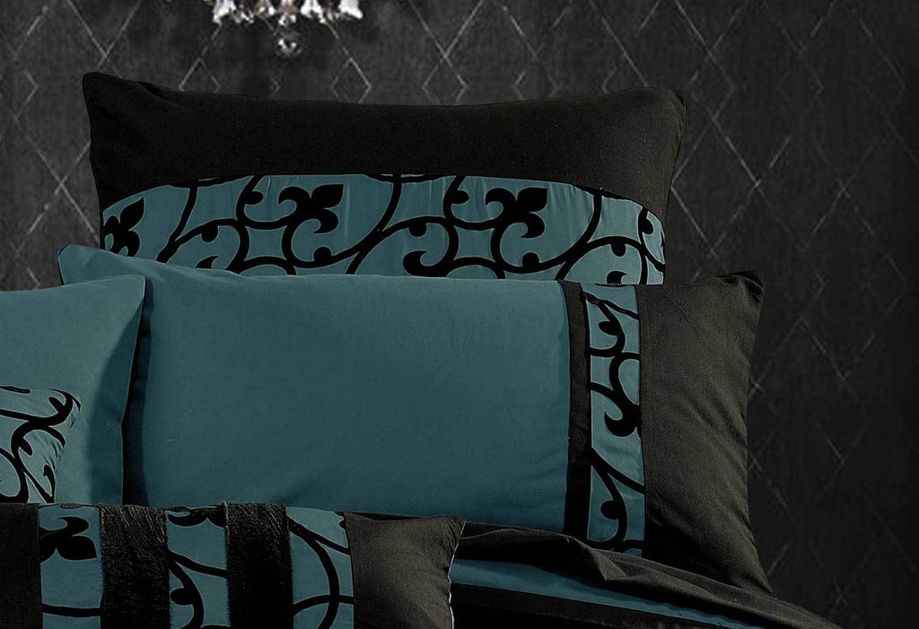 Queen Size Dark Teal Black Flocking Quilt Cover Set(3PCS)