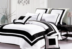 King Size Black and White Quilt Cover Set (3PCS)