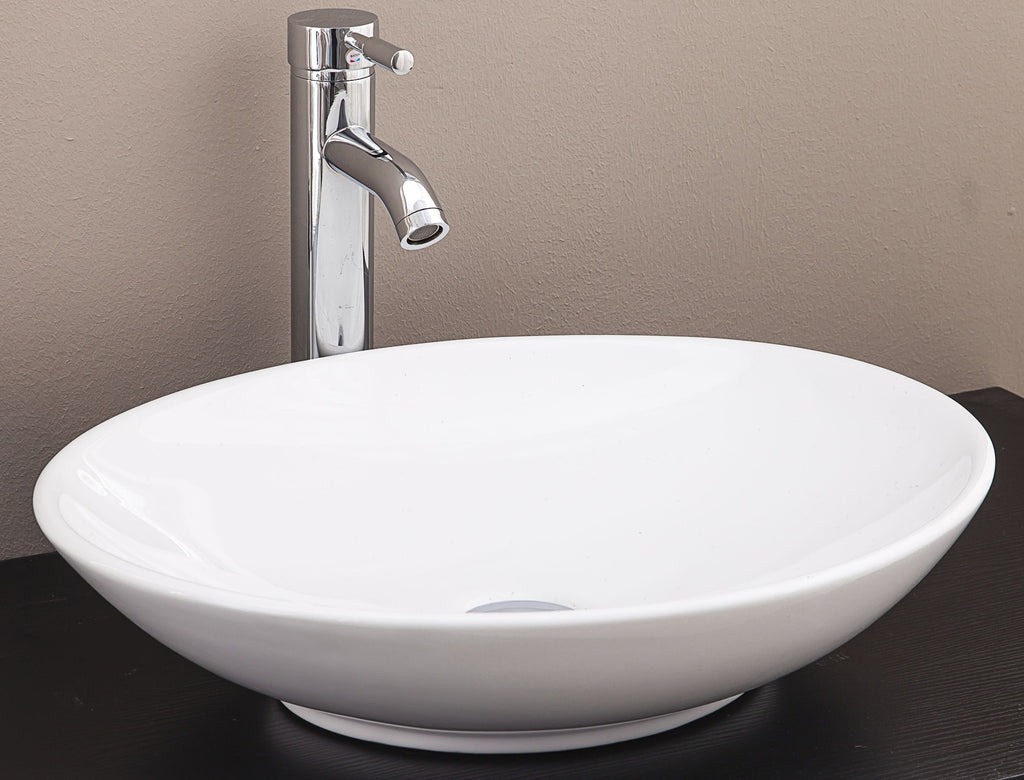 Bathroom Ceramic Oval Above Countertop Basin for Vanity