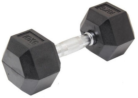 10KG Commercial Rubber Hex Dumbbell Gym Weight