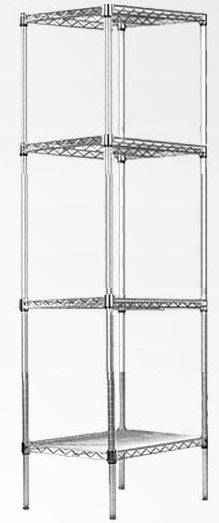 Modular Chrome Wire Storage Shelf 350 x 350 x 1800 Steel Shelving