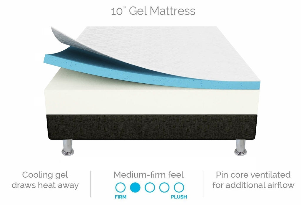 Palermo Double 25cm Gel Memory Foam Mattress - Dual-Layered - CertiPUR-US Certified