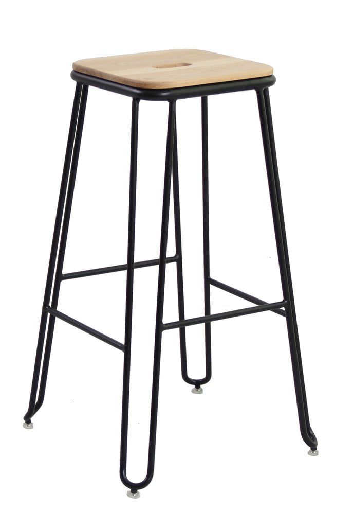 Ash Wood & Steel Industrial Bar Stool