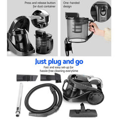 Devanti Vacuum Cleaner Bagless Cyclone Cyclonic Vac Home Office Car 2200W Black