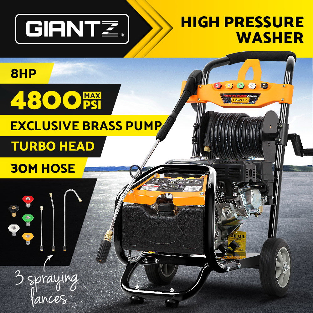 Giantz 4800PSI 8HP 30M Petrol High Pressure Cleaner Washer Water Jet Hose Gurney